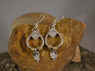 Brass Ring Leaf Earrings