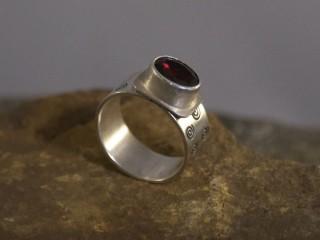 Garnet Spiral Ring