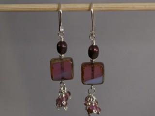 Violet Crystal Dangle Earrings