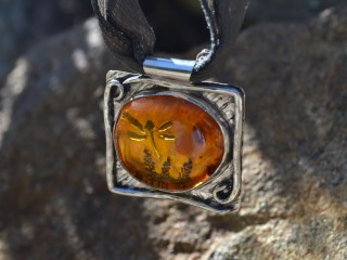 Amber Firefly Necklace