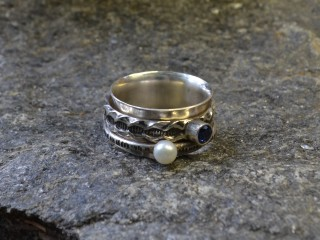 Pearl & Sapphire Spinner Ring